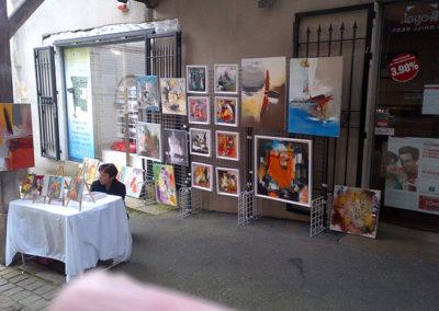 Exposition Montmartre Clisson, Jeanne, artiste peintre au style abstrait et coloré. (85) Les Herbiers, Vendée.